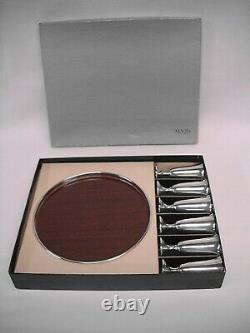 Vintage ALVIN STERLING SILVER CORDIAL SET-6 CUPS/TRAY-ORIG. BOX-EXC