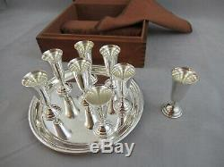 Vintage Cartier Sterling Silver Cordial Set 8 Cups And Serving Tray Boxed Signed