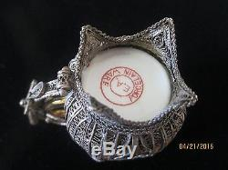 Vintage Chinese Handmade Sterling Silver Filigree Gold Cup & Saucer