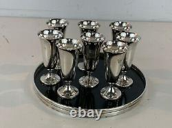 Vintage Gorham Sterling Silver 8 Cup Cordial Set with Round Tray