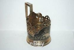 Vintage Russian Soviet USSR Niello Sterling Silver 875 Glass Tea Cup Holder 90gr