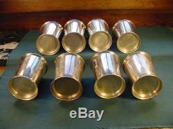 Vintage Set of Eight Poole 58 Sterling Silver Mint Julep Cups Kentucky Ky Estate