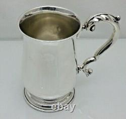 Vintage Solid Sterling Silver Baluster Shaped One Pint Tankard Cup (VGE)
