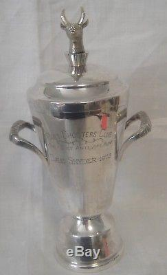 Vintage Sterling Silver Loving Cup Trophy Antelope Hunt Shooters Club 8-1/4T