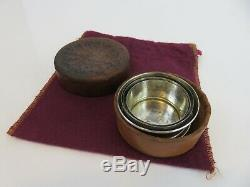 Webster & Co Sterling Silver Collapsible Jigger Shot Cup & Leather Case, c1880s