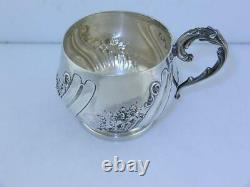 Wonderful French 950 Sterling Silver Cup with floral & scroll patterns