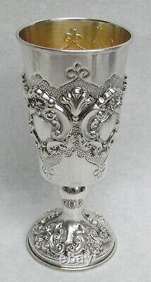 Wonderful Sterling Silver Gold Washed Interior 7 Wine Cup